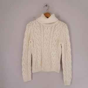 The Limited Angora Lambswool Cable Knit Sweater
